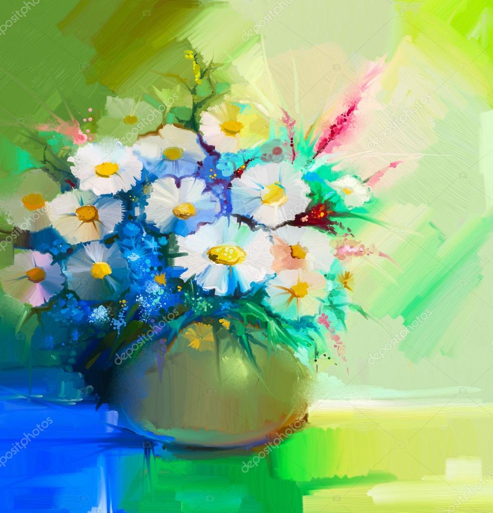 Abstract oil painting of spring flower. Still life of white gerbera, daisies, lilac, wildflowers.