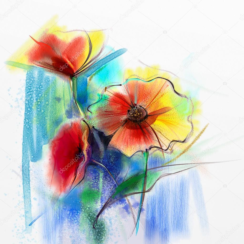 Abstrakcja Akwarela Malarstwo Wiosna Kwiat Martwa Natura żółte