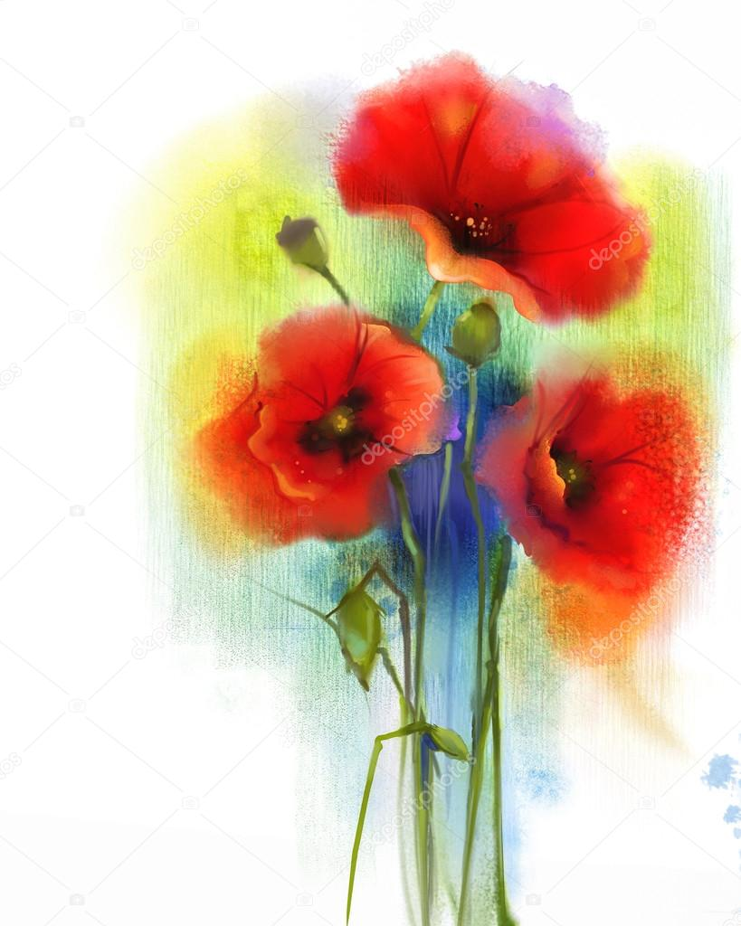 Watercolor Red Poppy Flower Painting Stock Photo Nongkranch
