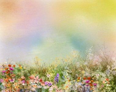 Abstract oil painting flowers plant. Purple cosmos, white daisy, cornflower, wildflower, dandelion flower in fields.