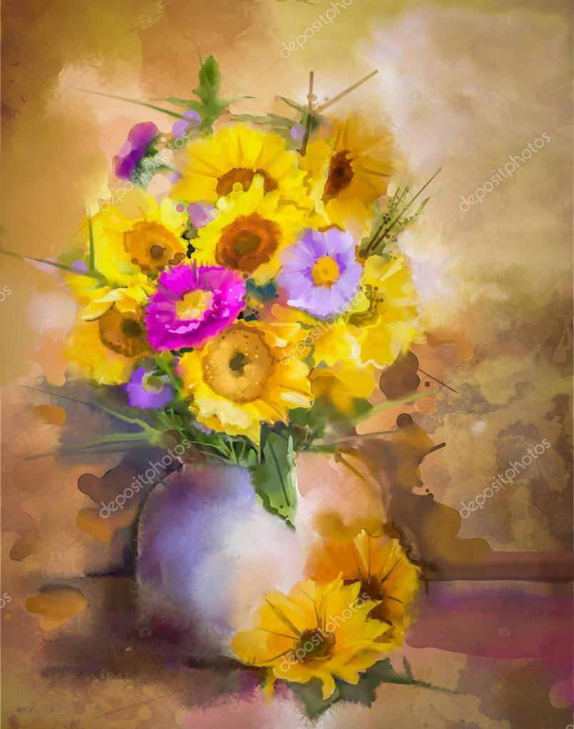 Watercolor painting flowers. Hand paint bouquet still life of yellow sunflower and violet aster flowers in vase on grunge textures background