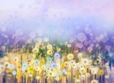 Abstract oil painting flowers plant. Dandelion flower in fields. Meadow landscape with wildflower. Purple,Blue sky color with bokeh