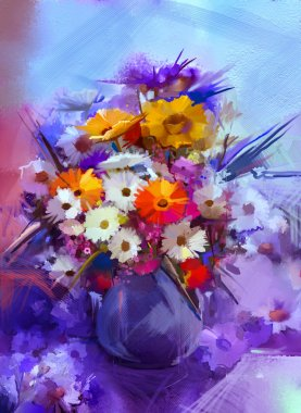 Oil painting flowers in vase. Hand paint  still life bouquet of White,Yellow and Orange Sunflower, Gerbera, Daisy flowers.