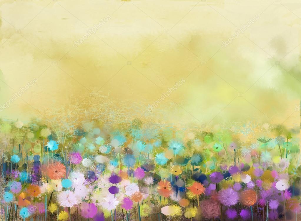 Abstract oil painting flowers plant. Purple cosmos, white daisy, cornflower, wildflower, dandelion flower in fields