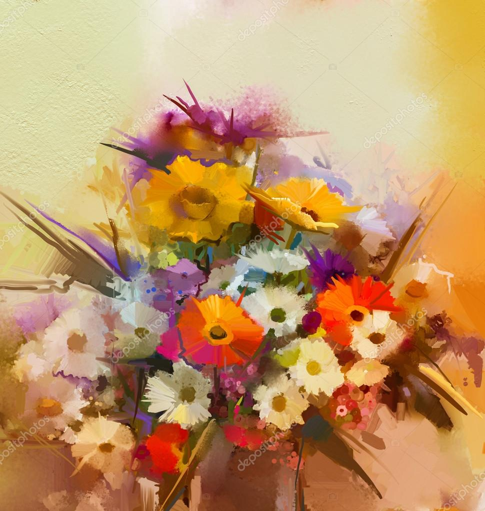 Oil painting flowers in vase. Hand paint  still life bouquet of White,Yellow and Orange Sunflower