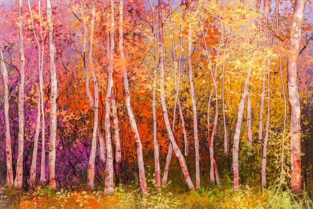 Fondo del paesaggio di autunno variopinto dipinto ad olio — Foto ...