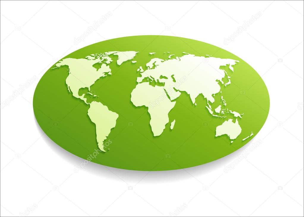 White paper world map on green oval shape stock vector white paper world map on green oval shape stock vector gumiabroncs Image collections
