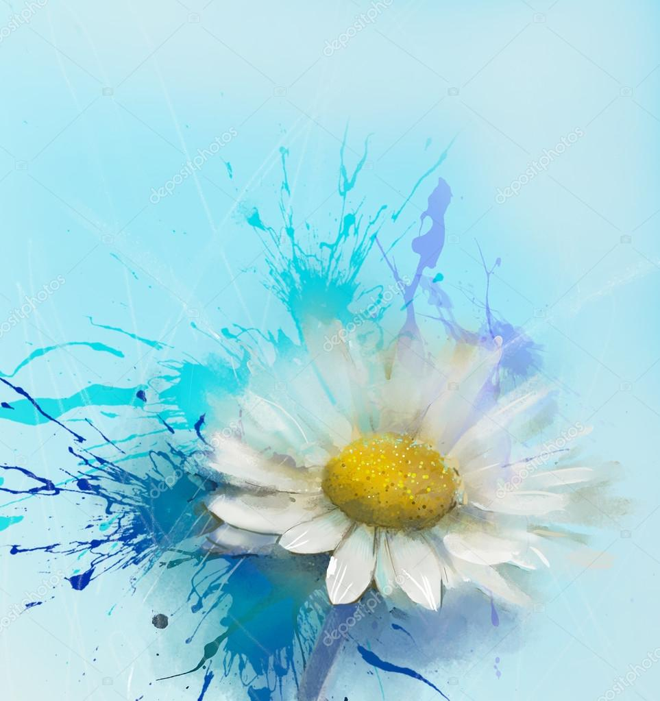 Abstract Daisy flower painting.