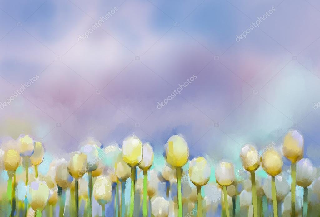 Tulips flowers Oil painting.Abstract flower painting