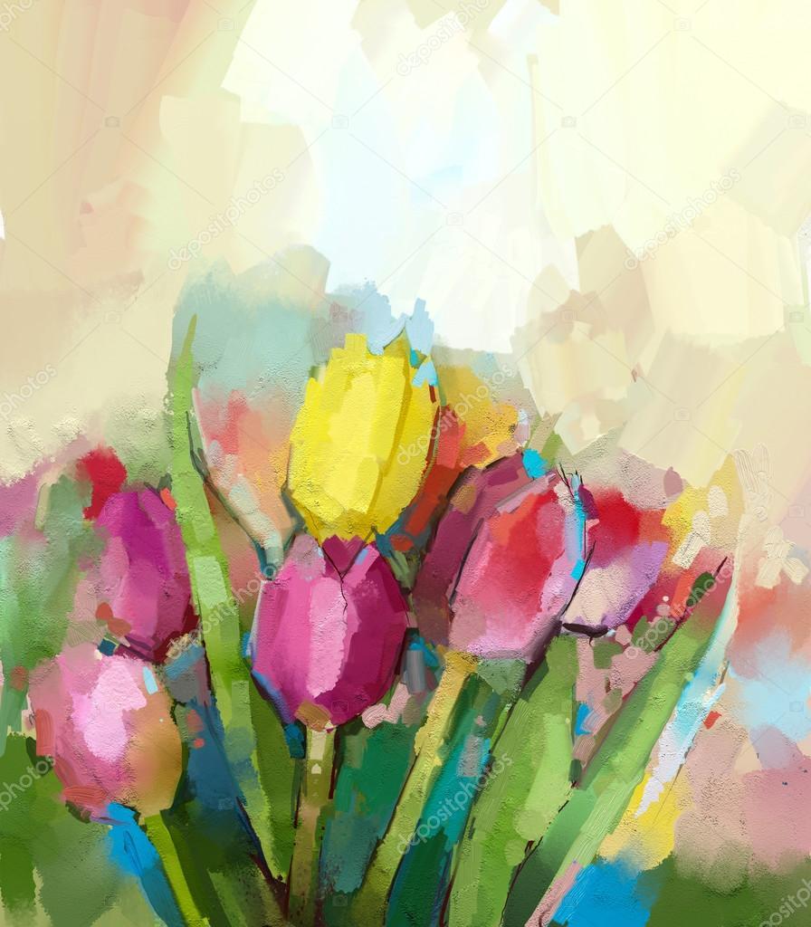 Lale çiçek Yağlı Boya Soyut çiçek Dijital Boyama Stok Foto