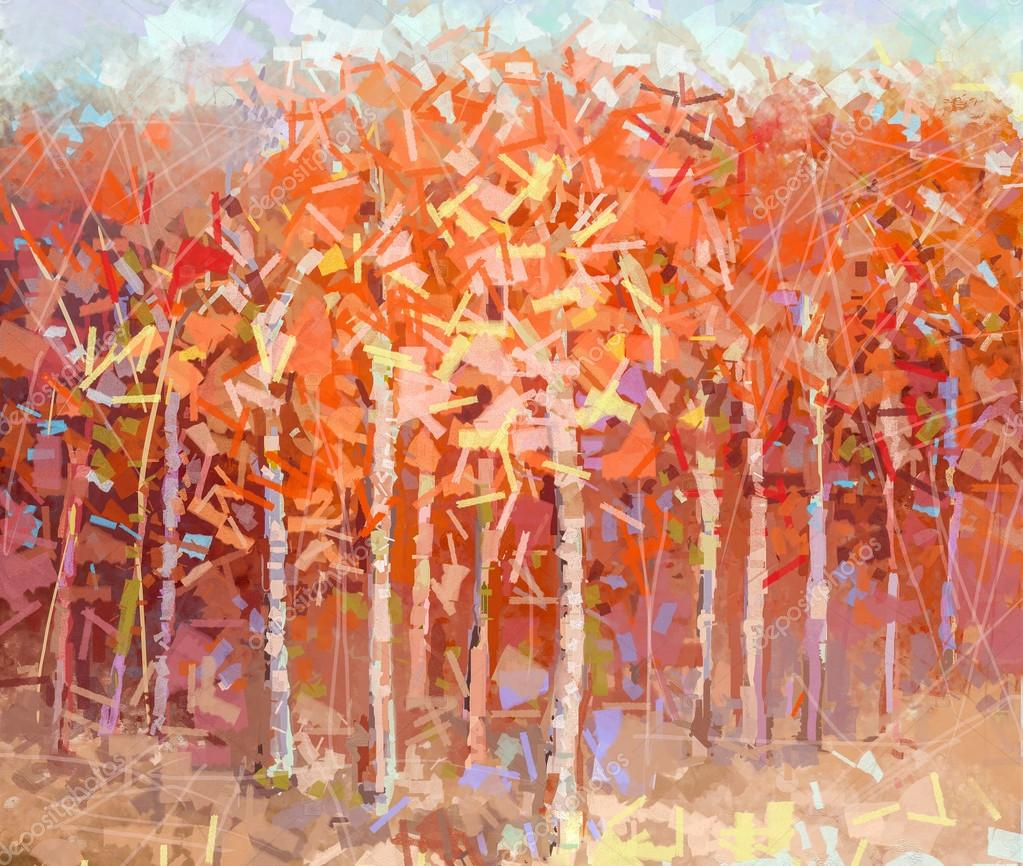 Abstract Oil painting landscape colorful autumn forest