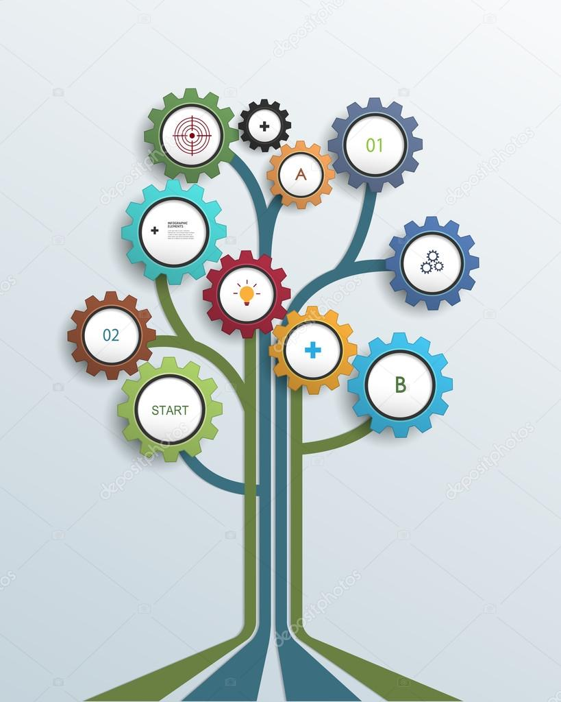 Abstract Growth Tree Concept With Gear Wheel Stock Vector