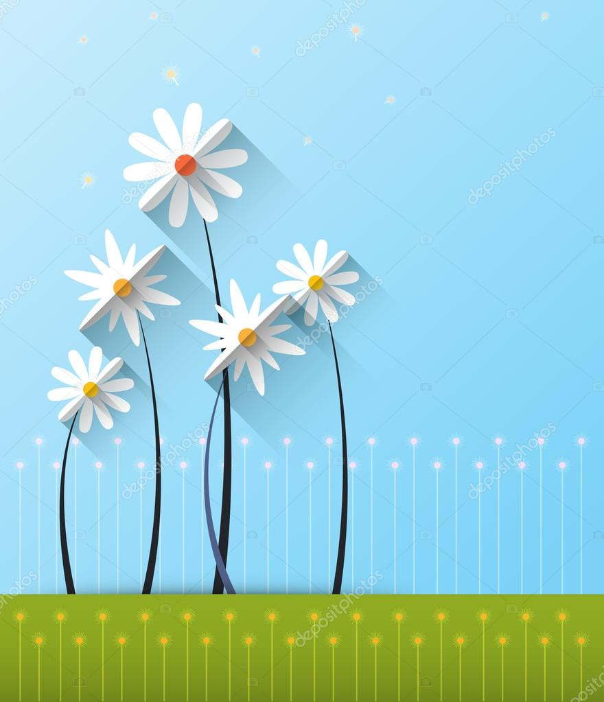 Abstract spring background with paper flowers