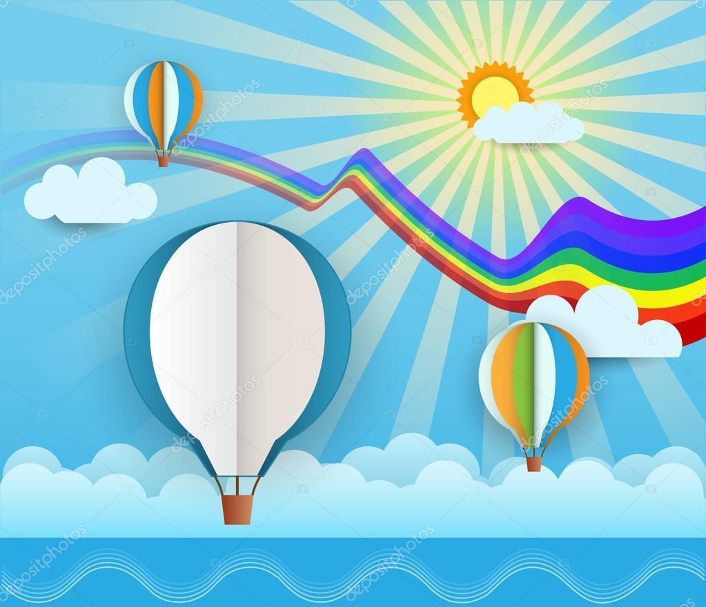 r u00e9sum u00e9 papier d u00e9coup u00e9 avec ballon sur fond bleu  nuages  mer  soleil  espace ballon pour votre