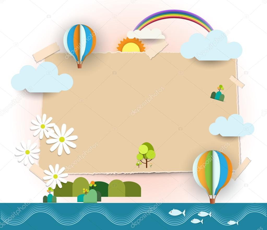 Abstract paper cut-Blank paper notes background -space for text  post it notes.Travel and tourism concept.