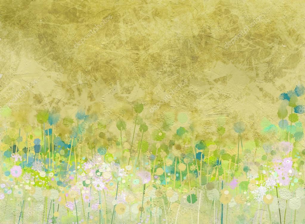 Abstract  painting  flowers field on grunge paper texture