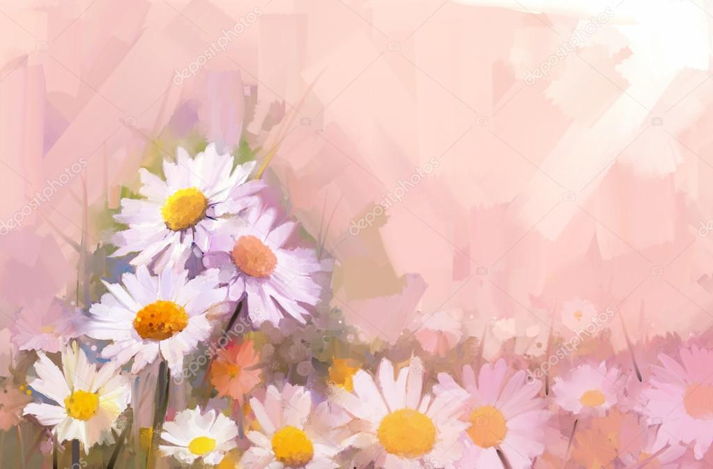 Gerbera flower oil painting.Flowers in soft color  for background