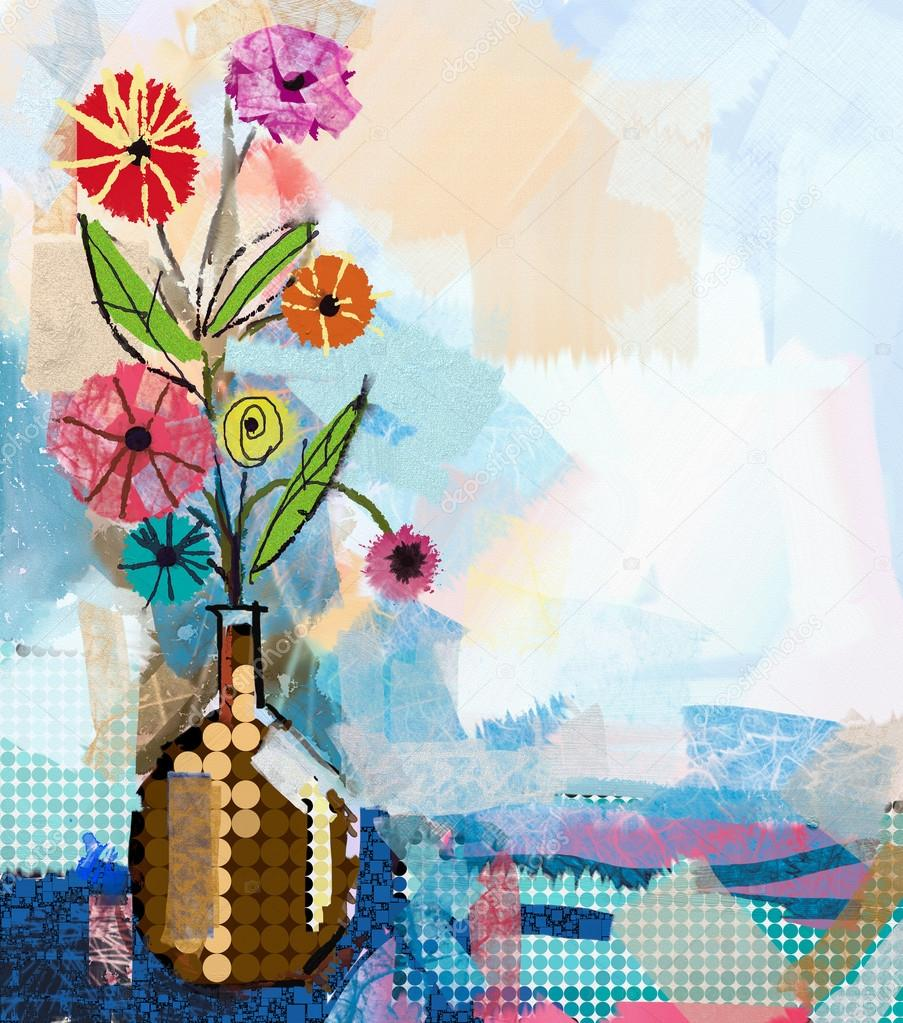 Abstract flowers painting and mixed media art background