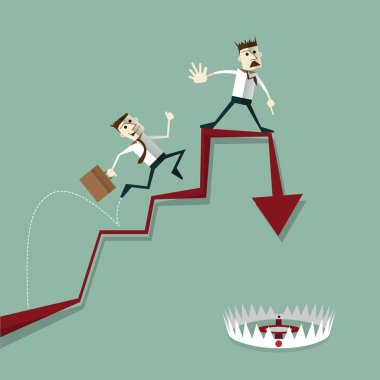 Businessman risk of investment mistakes