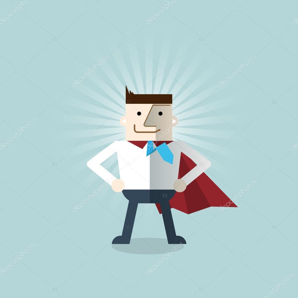 Cartoon businessman Superhero