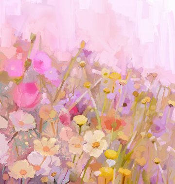 Flowers field oil painting in soft color and blur style
