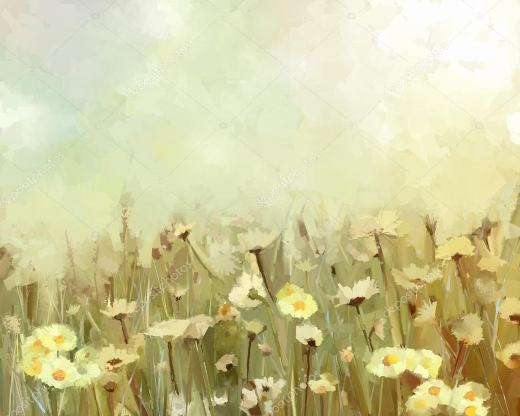 Flower oil painting - vintage background