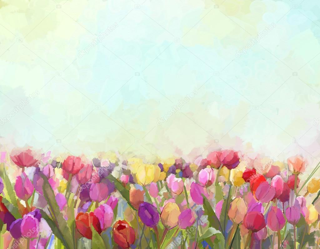 Oil painting Tulips  flowers in the meadows