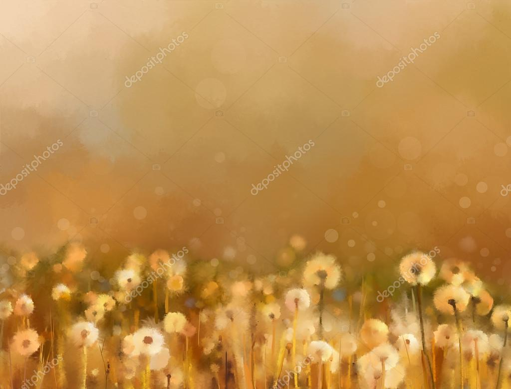 Abstract oil painting .Vintage dandelion flowers in the meadows.