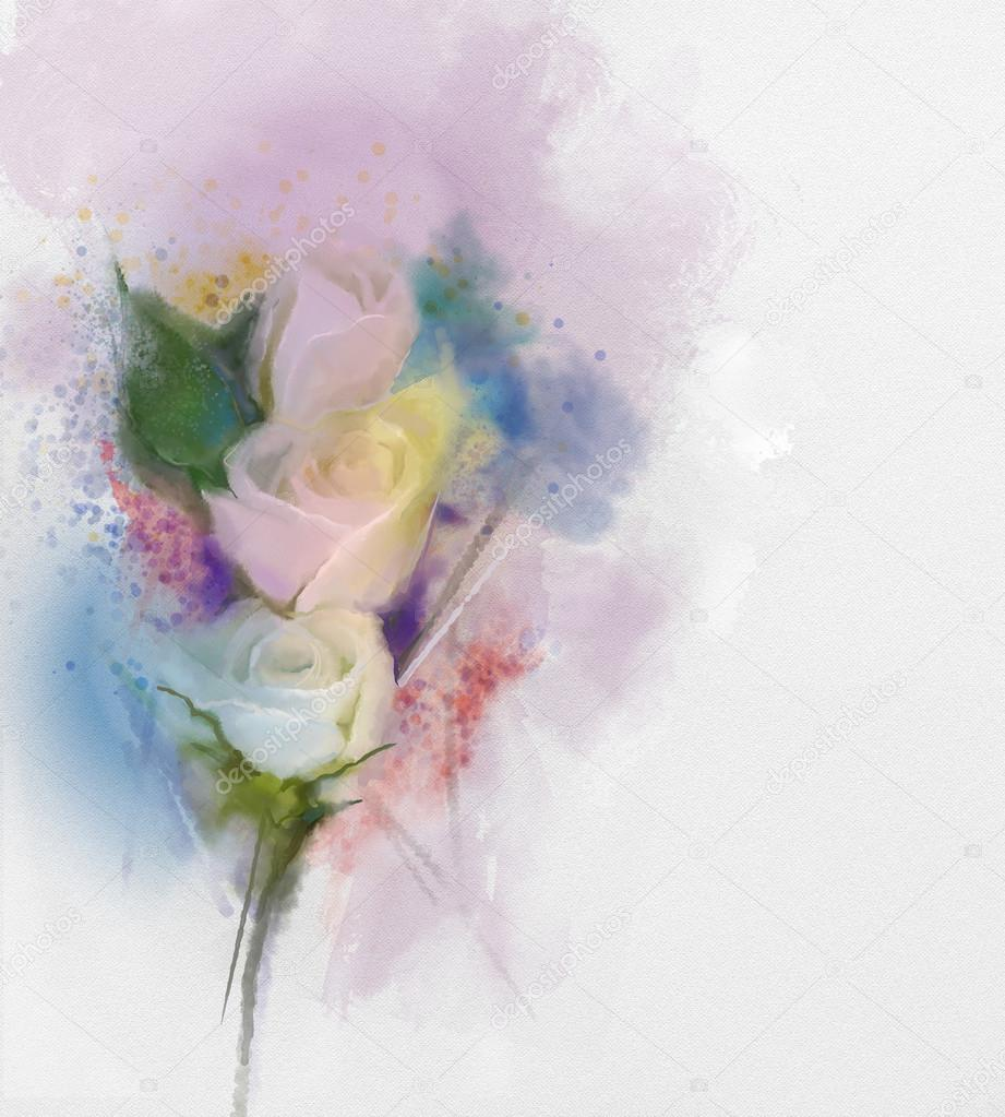 Flowers Painting White Roses Floral In Pastel Color With Light Pink