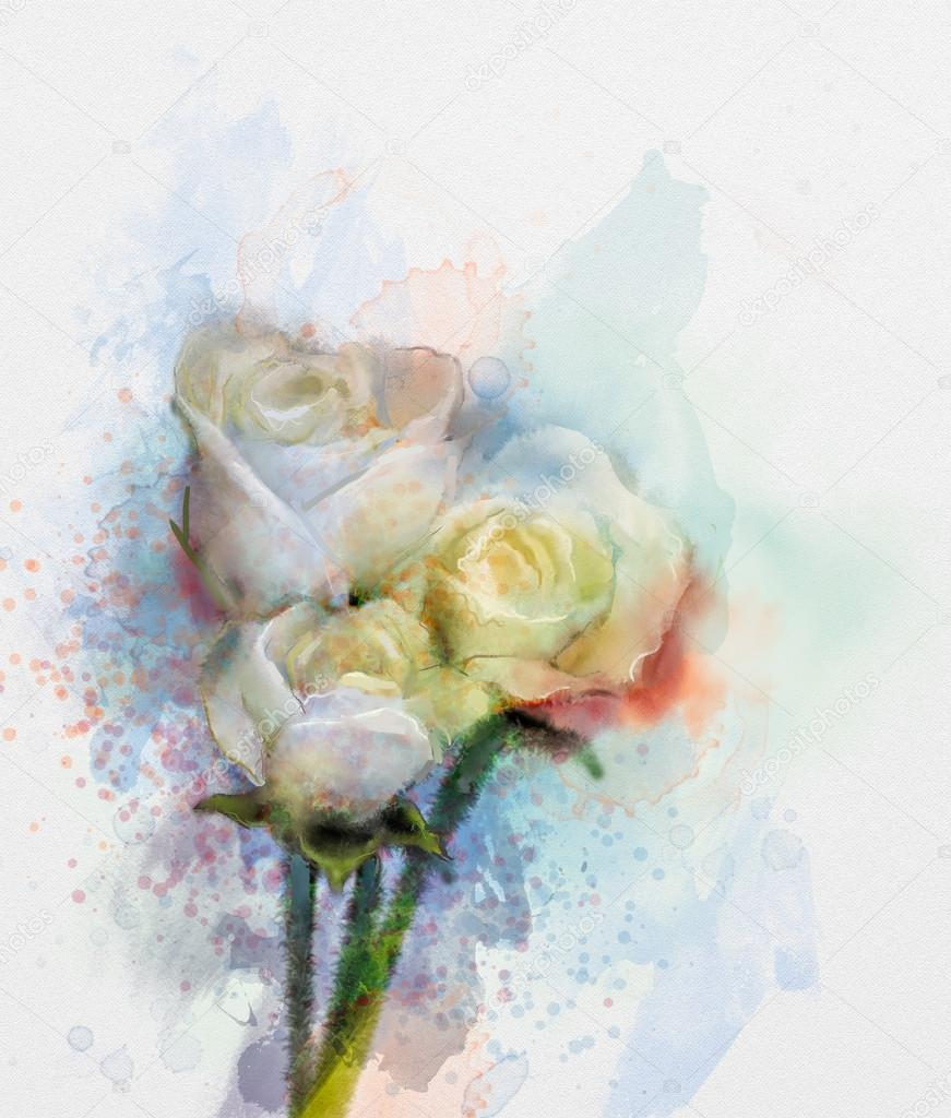 Flowers painting. White roses floral in pastel color with light pink and yellow and blurred style background