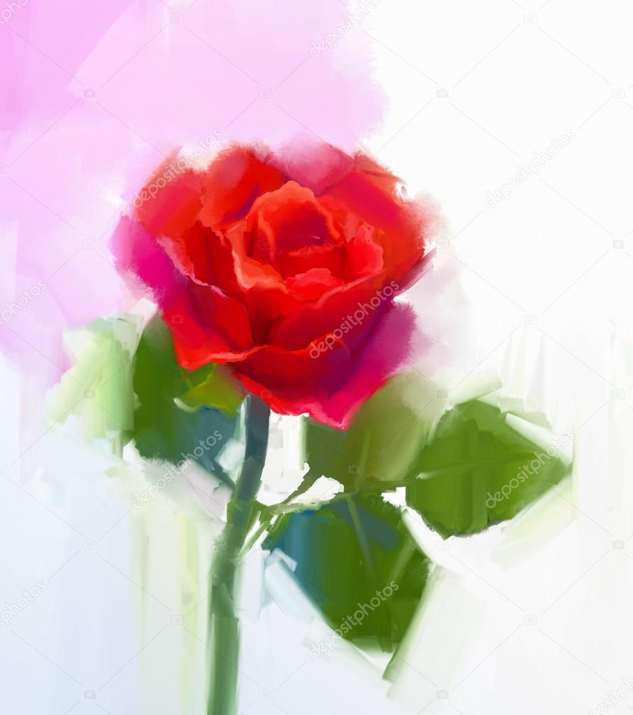 Abstrait Fleur Rose Rouge Avec La Peinture A L Huile Vert Feuille