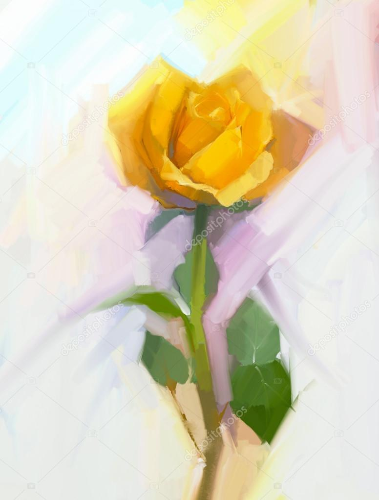 Abstract yellow rose flower with green leaf oil painting