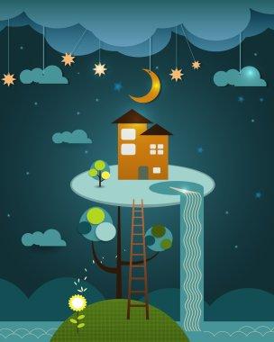 Illustration vector , house on peaceful landscape,night sky background