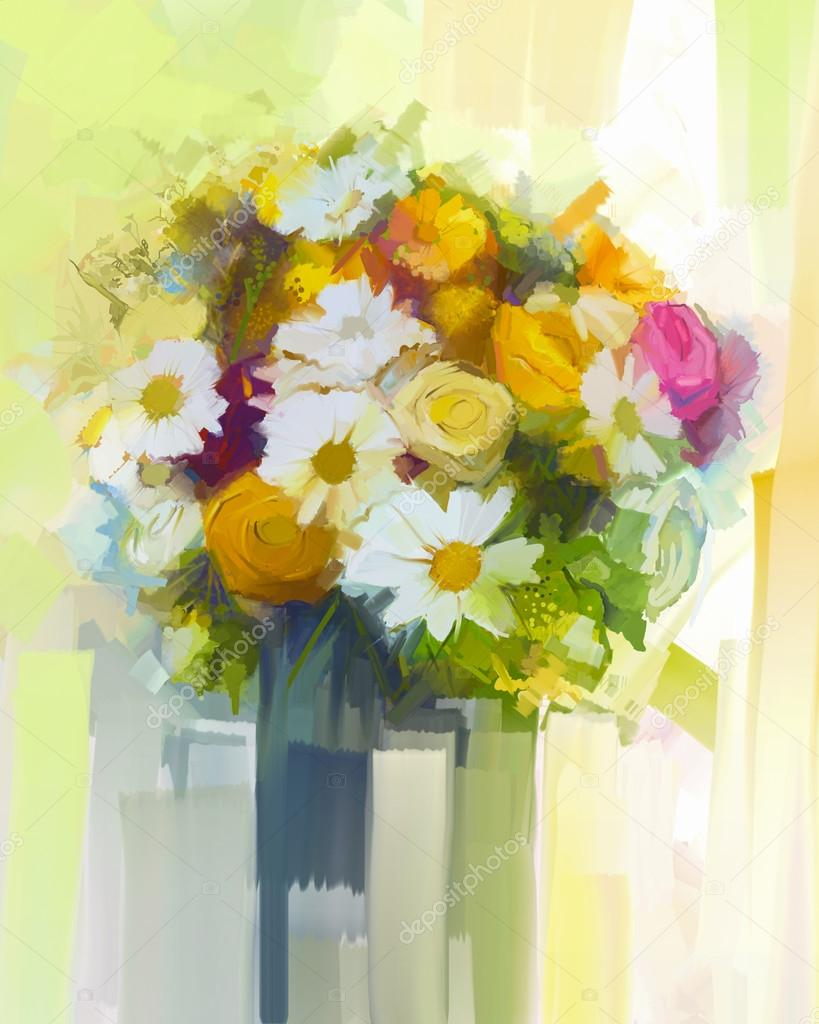 Still life a bouquet of flowers oil painting