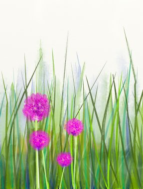 Watercolor painting pink chive flower over green leaf background
