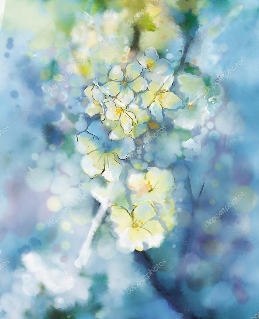 Abstract  watercolor painting  white Apricot tree flower