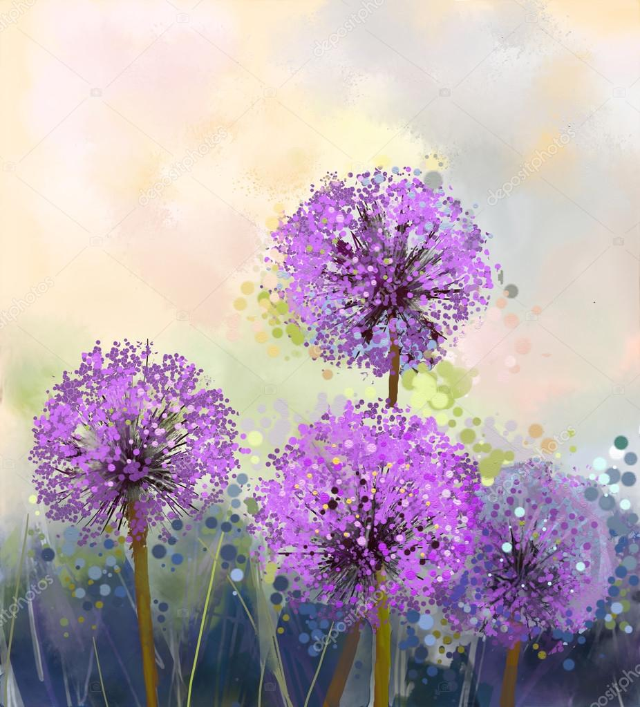 Oil painting Purple onion flower. Spring floral nature background