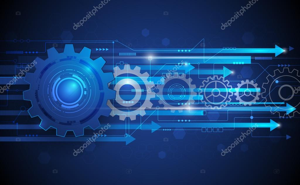 Vector illustration Abstract futuristic gear wheel with circuit