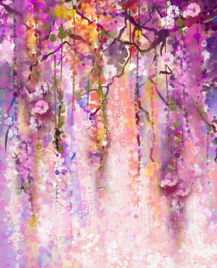 Watercolor painting. Spring purple flowers Wisteria background