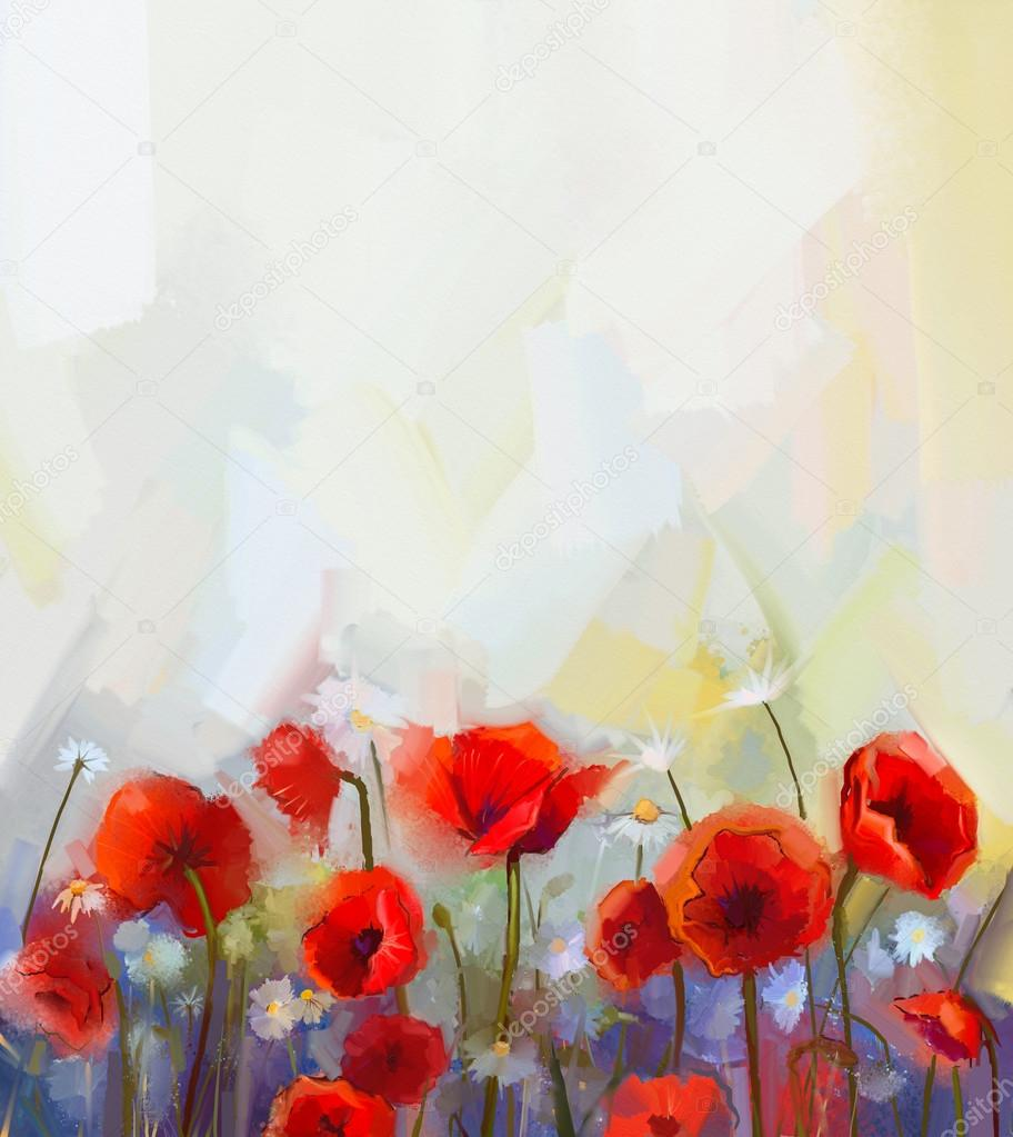 Oil painting red poppy flowers stock photo nongkranch 73646317 oil painting red poppy flowers stock photo mightylinksfo Image collections