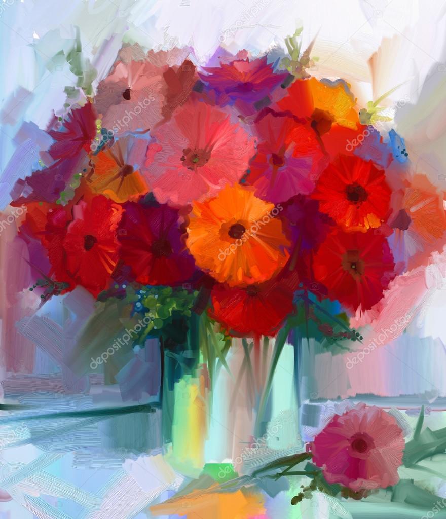 Oil painting red gerbera flowers in vase