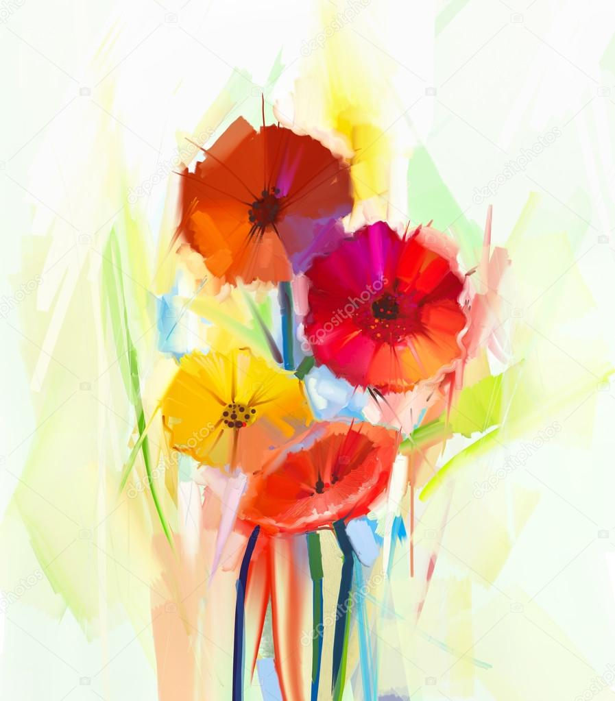 abstract oil painting of spring flowers still life of