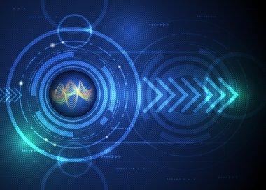 Illustration Abstract futuristic, wavelength digital in eyeball