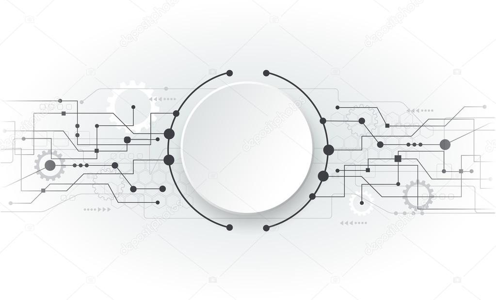Vector illustration Abstract futuristic circuit board, hi-tech computer digital technology concept, Blank white 3d paper circle for your design on light grey color backgroun