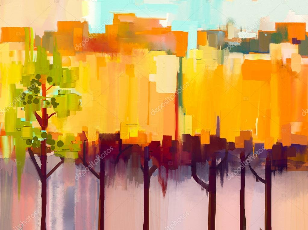Abstract colorful oil painting landscape on canvas. Semi- abstract image of tree in yellow and green with blue sky. Spring season nature background