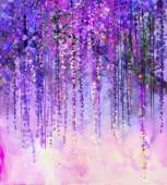 Fotografie Abstract violet, red and yellow color flowers. Watercolor painting. Spring purple flowers Wisteria in blossom with bokeh background