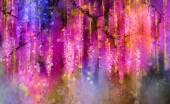 Fényképek Absztrakt lila, piros és sárga színű virágok. Akvarell festészet. Tavaszi lila virágok Wisteria fa blossom bokeh háttérrel