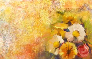 """Картина, постер, плакат, фотообои """"Крупным планом Натюрморт из белого, желтого и красного цвета flowers.Oil картина букет розы, ромашки, цветы герберы с мягкой желто-красный цвет фона. Ручная роспись цветочные гранж фон бумаги"""", артикул 78789462"""