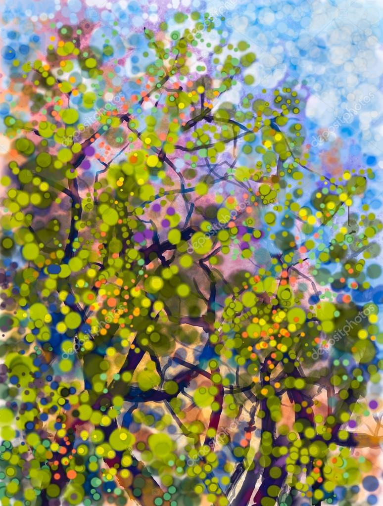 Abstract watercolor painting. Spring nature season with yellow flowers tree, on grunge blue watercolor background