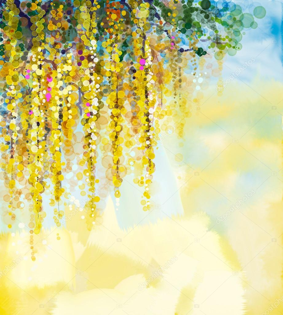 Abstract flowers watercolor painting. Spring yellow flowers Wisteria with soft yellow and blue color background. Blank space for your design